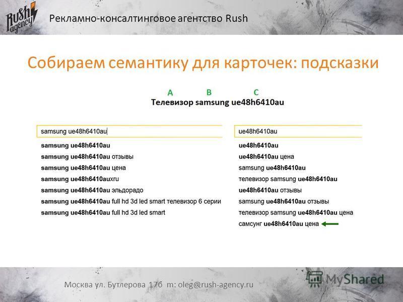 Рекламно-консалтинговое агентство Rush Москва ул. Бутлерова 17 б m: oleg@rush-agency.ru Собираем семантику для карточек: подсказки