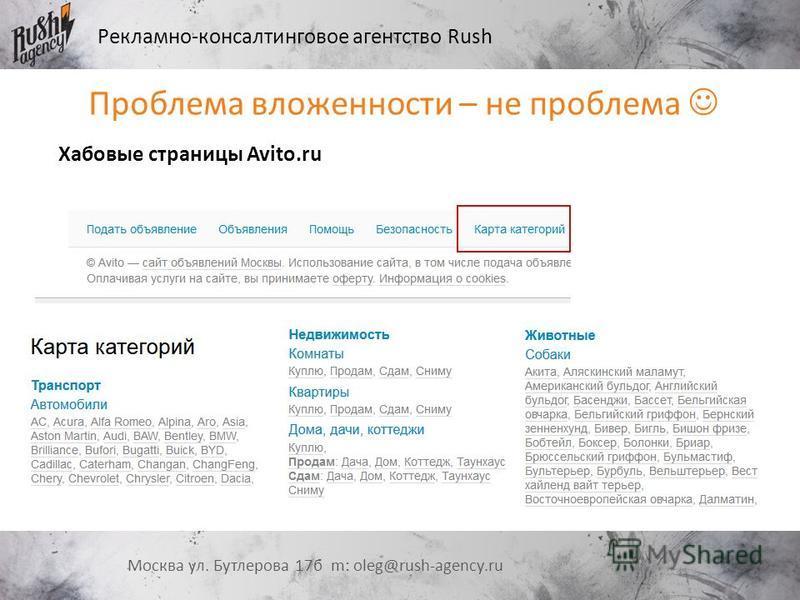 Рекламно-консалтинговое агентство Rush Москва ул. Бутлерова 17 б m: oleg@rush-agency.ru Проблема вложенности – не проблема Хабовые страницы Avito.ru