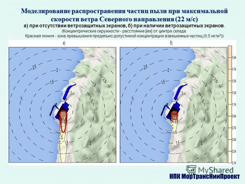 Моделирование распространения частиц пыли при максимальной скорости ветра Северного направления (22 м/с) а) при отсутствии ветрозащитных экранов, б) при наличии ветрозащитных экранов. (Концентрические окружности - расстояние [км] от центра склада. Кр