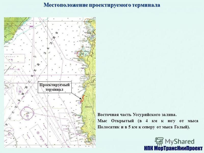 Местоположение проектируемого терминала Восточная часть Уссурийского залива. Мыс Открытый (в 4 км к югу от мыса Полосатик и в 5 км к северу от мыса Голый). Проектируемый терминал