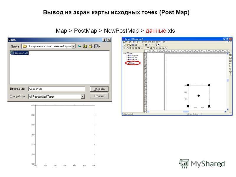 Вывод на экран карты исходных точек (Post Map) Map > PostMap > NewPostMap > данные.xls 3