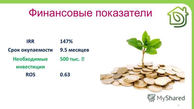 9 Финансовые показатели IRR147% Срок окупаемости 9.5 месяцев Необходимые инвестиции 500 тыс. ROS0.63