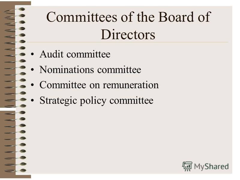 Committees of the Board of Directors Audit committee Nominations committee Committee on remuneration Strategic policy committee