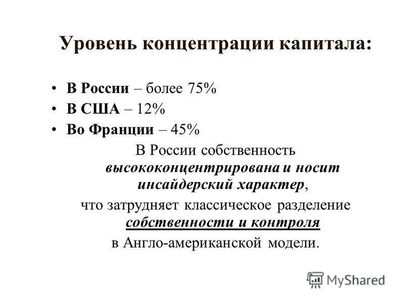 Уровень концентрации капитала: В России – более 75% В США – 12% Во Франции – 45% В России собственность высококонцентрированная и носит инсайдерский характер, что затрудняет классическое разделение собственности и контроля в Англо-американской модели