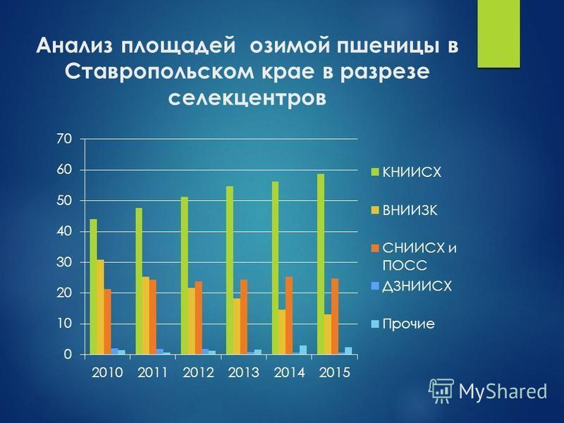Анализ плащадей озимой пшеницы в Ставропольском крае в разрезе селекцентров