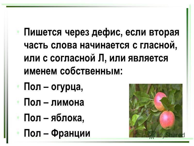 Пишется через дефис, если вторая часть слова начинается с гласной, или с согласной Л, или является именем собственным: Пол – огурца, Пол – лимона Пол – яблока, Пол – Франции