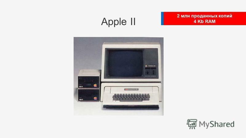 2 млн проданных копий 4 Kb RAM Apple II
