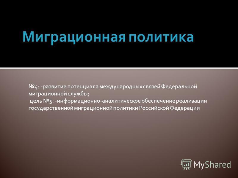 4: -развитие потенциала международных связей Федеральной миграционной службы; цель 5: -информационно-аналитическое обеспечение реализации государственной миграционной политики Российской Федерации