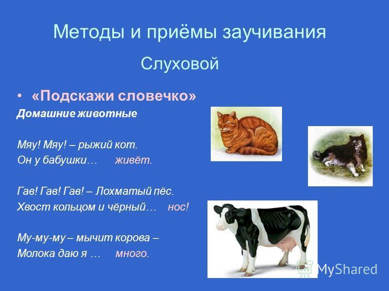 Методы и приёмы заучивания «Подскажи словечко» Домашние животные Мяу! Мяу! – рыжий кот. Он у бабушки… живёт. Гав! Гав! Гав! – Лохматый пёс. Хвост кольцом и чёрный… нос! Му-му-му – мычит корова – Молока даю я … много. Слуховой