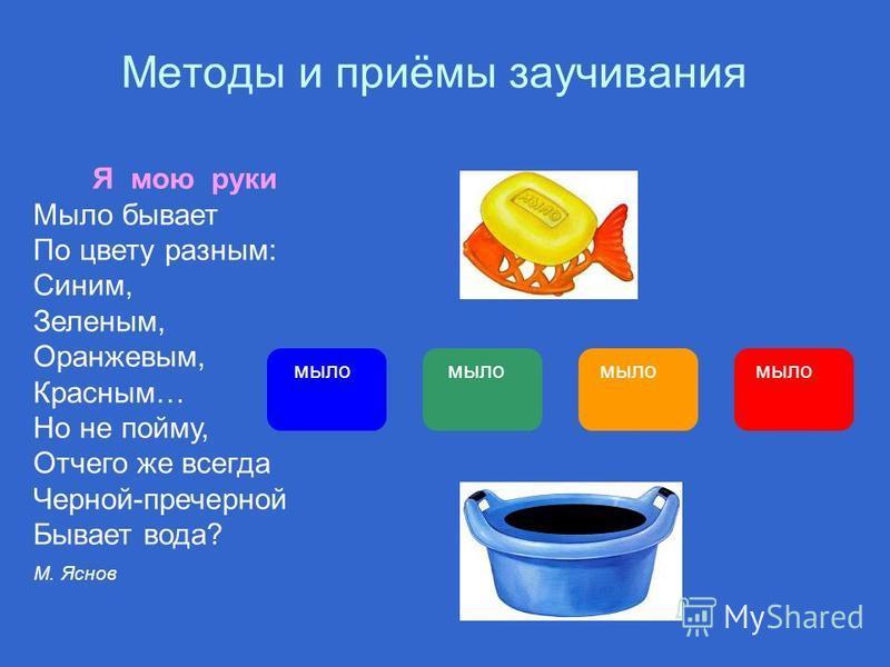 Методы и приёмы заучивания Я мою руки Мыло бывает По цвету разным: Синим, Зеленым, Оранжевым, Красным… Но не пойму, Отчего же всегда Черной-пречерной Бывает вода? М. Яснов мыло