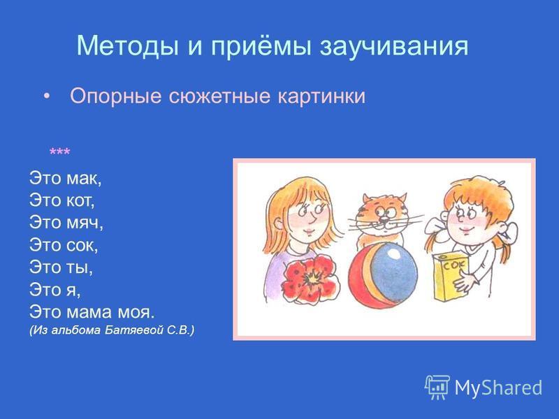 Методы и приёмы заучивания *** Это мак, Это кот, Это мяч, Это сок, Это ты, Это я, Это мама моя. (Из альбома Батяевой С.В.) Опорные сюжетные картинки