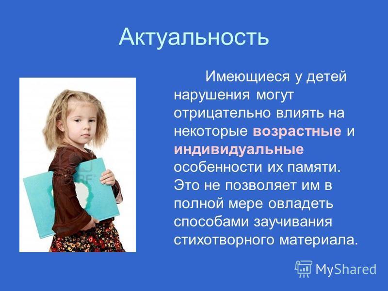 Актуальность Имеющиеся у детей нарушения могут отрицательно влиять на некоторые возрастные и индивидуальные особенности их памяти. Это не позволяет им в полной мере овладеть способами заучивания стихотворного материала.