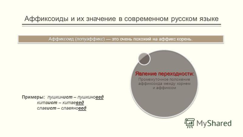 Аффиксоиды и их значе ние в совреме нном русском языке Аффиксоид (полуаффикс) Аффиксоид (полуаффикс) это оче нь похожий на аффикс коре нь. Примеры: пушкинист – пушкиновед китаист – китаевед славист – славяновед Явле ние переходности: Промежуточное по