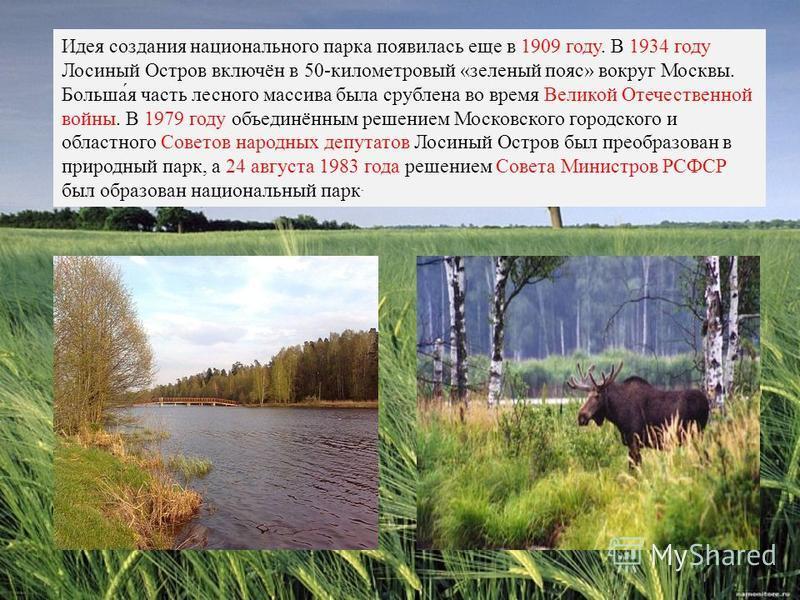 Идея создания национального парка появилась еще в 1909 году. В 1934 году Лосиный Остров включён в 50-километровый «зеленый пояс» вокруг Москвы. Больша́я часть лесного массива была срублена во время Великой Отечественной войны. В 1979 году объединённы