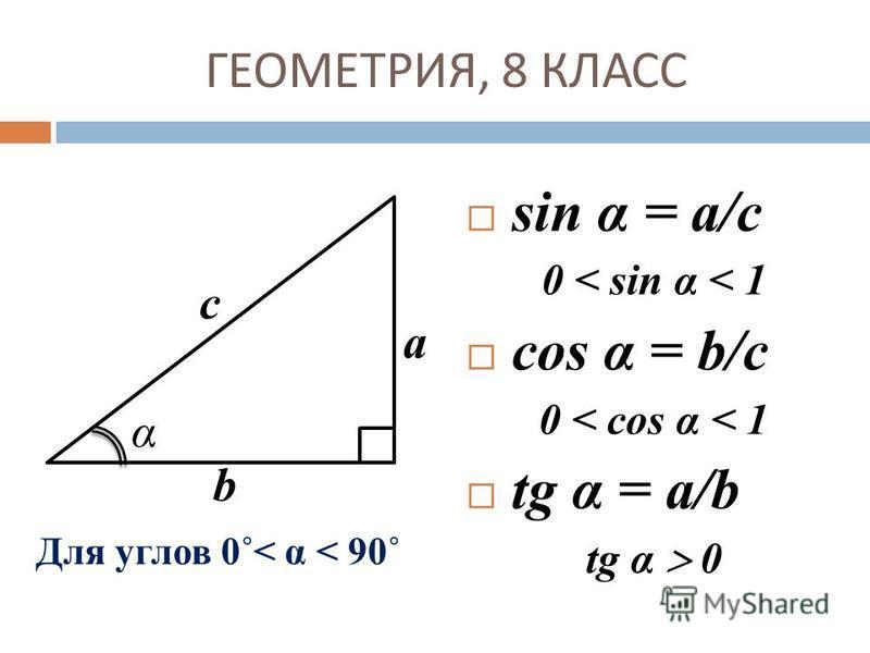 ГЕОМЕТРИЯ, 8 КЛАСС sin α = a/c 0 < sin α < 1 cos α = b/c 0 < cos α < 1 tg α = a/b tg α 0 Для углов 0˚< α < 90˚ с а b α