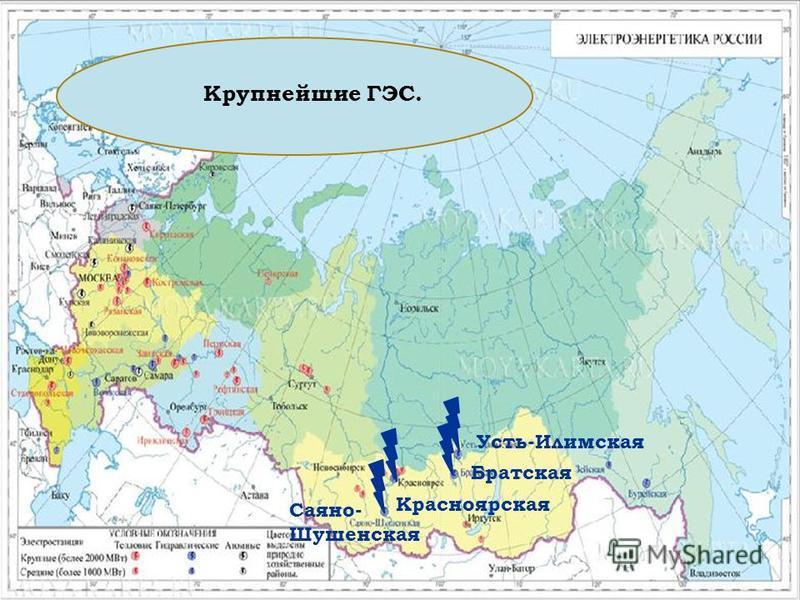 Крупнейшие ГЭС. Саяно- Шушенская Красноярская Братская Усть-Илимская