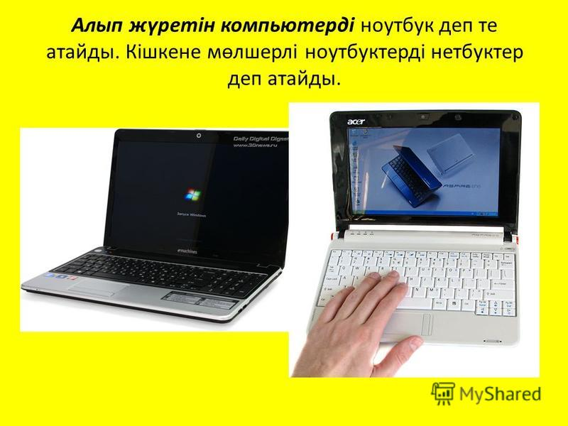 Алып жүретін компьютерді ноутбук деп те атайды. Кішкене мөлшерлі ноутбуктерді нетбуктер деп атайды.