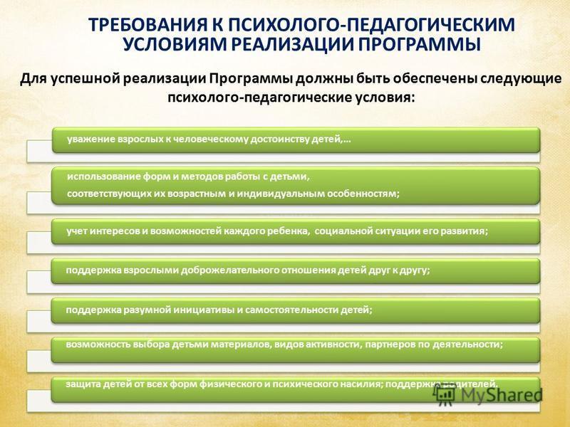ТРЕБОВАНИЯ К ПСИХОЛОГО-ПЕДАГОГИЧЕСКИМ УСЛОВИЯМ РЕАЛИЗАЦИИ ПРОГРАММЫ Аспекты образовательной среды Для успешной реализации Программы должны быть обеспечены следующие психолого-педагогические условия: уважение взрослых к человеческому достоинству детей