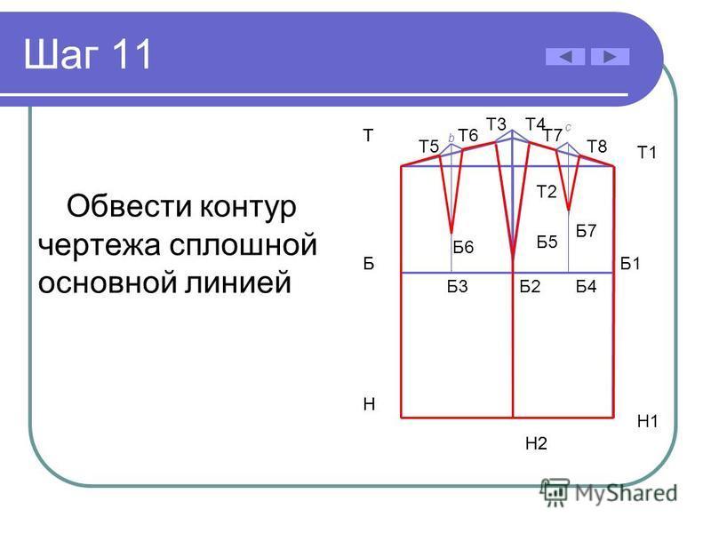 Шаг 11 Обвести контур чертежа сплошной основной линией Б Н Т Б2 Т2 Н2 Б Н Т Б3 Н2 Т4Т3 Б5 Б4 Т5Т5 Т6Т6Т7Т7 Т8Т8 b c Б6 Б7 Н1 Т1 Б1