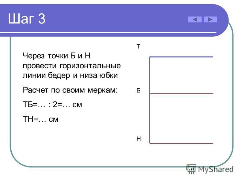 Шаг 3 Через точки Б и Н провести горизонтальные линии бедер и низа юбки Расчет по своим меркам: ТБ=… : 2=… см ТН=… см Б Н Т