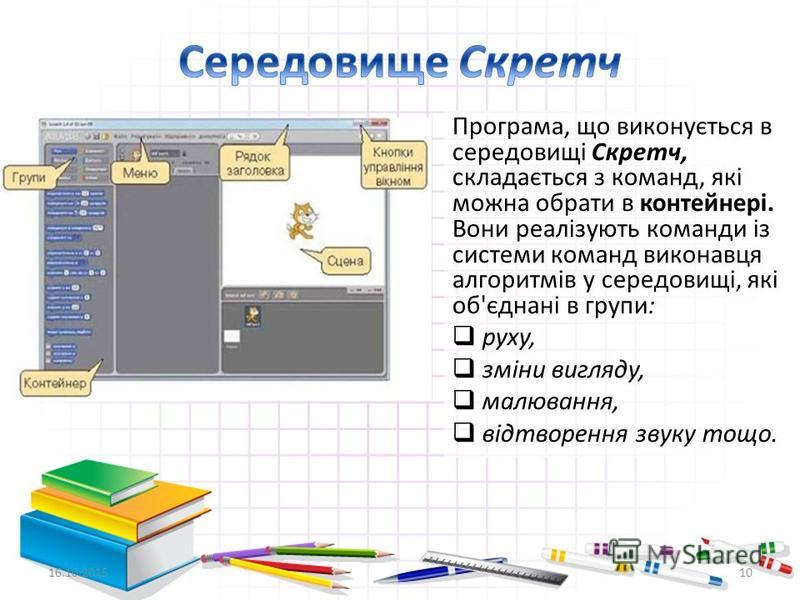 16.10.201510 Програма, що виконується в середовищі Скретч, складається з команд, які можна обрати в контейнері. Вони реалізують команди із системи команд виконавця алгоритмів у середовищі, які об'єднані в групи: руху, зміни вигляду, малювання, відтво