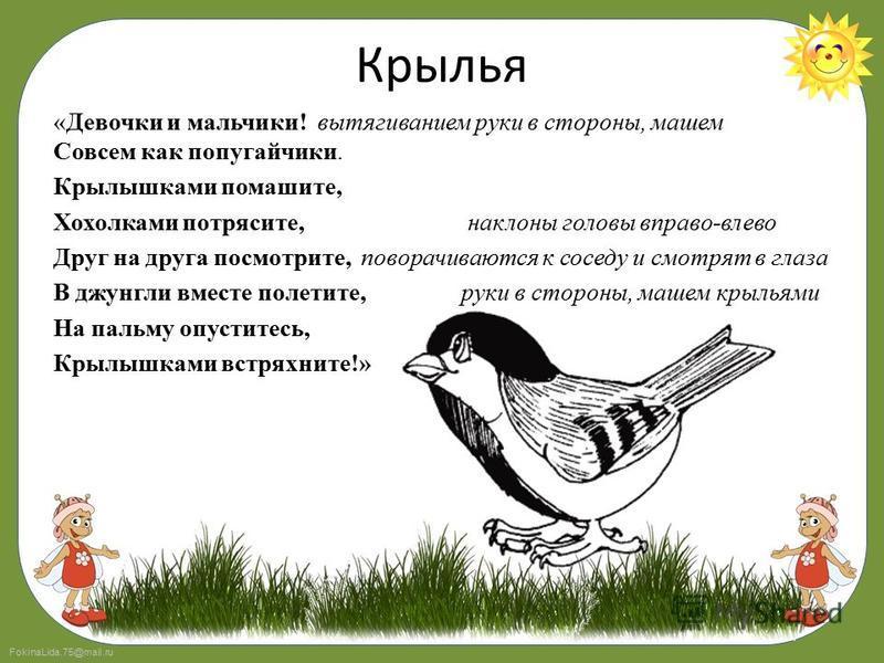 FokinaLida.75@mail.ru Крылья «Девочки и мальчики! вытягиванием руки в стороны, машем Совсем как попугайчики. Крылышками помашите, Хохолками потрясите, наклоны головы вправо-влево Друг на друга посмотрите, поворачиваются к соседу и смотрят в глаза В д