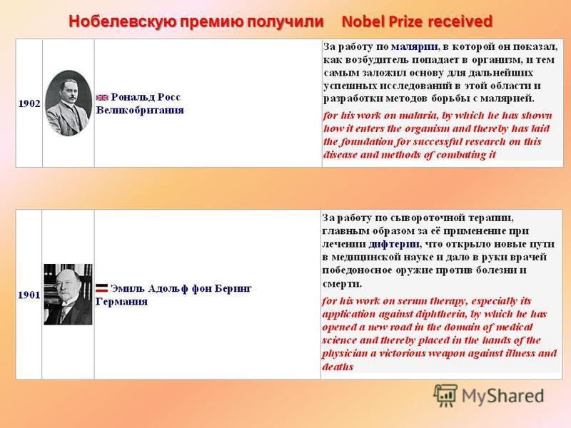 Нобелевскую премию получили Nobel Prize r eceived