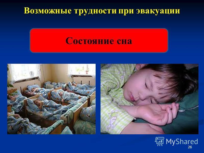 Возможные трудности при эвакуации 26 Состояние сна