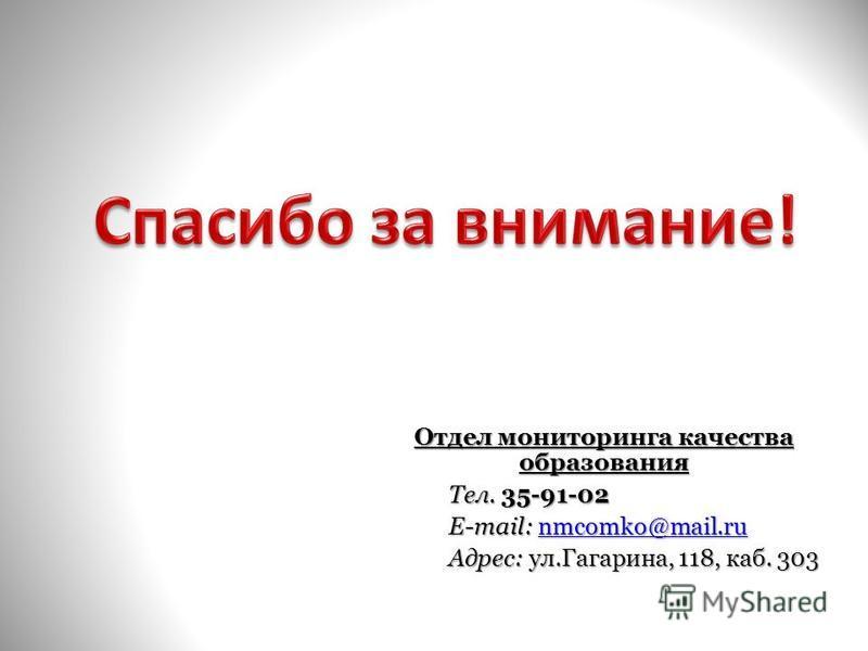 Отдел мониторинга качества образования Тел. 35-91-02 Тел. 35-91-02 E-mail: nmcomko@mail.ru E-mail: nmcomko@mail.runmcomko@mail.ru Адрес: ул.Гагарина, 118, каб. 303 Адрес: ул.Гагарина, 118, каб. 303