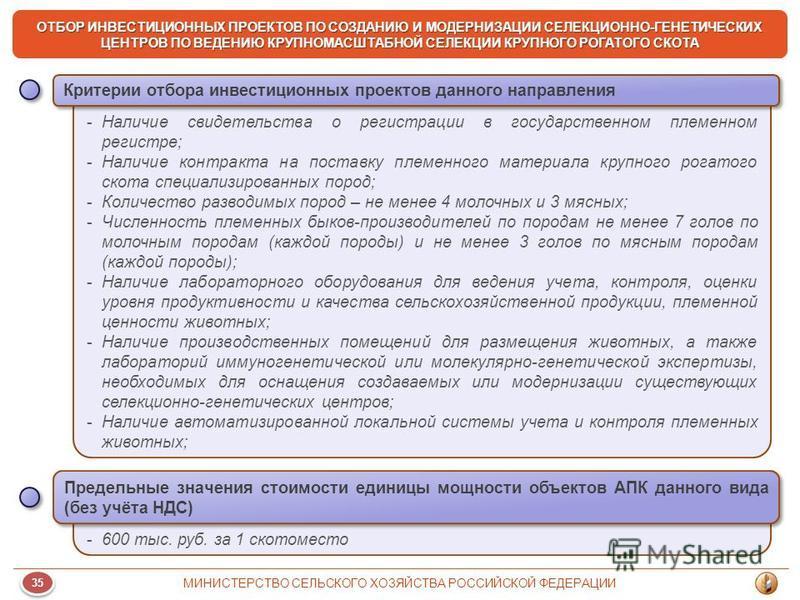 35 МИНИСТЕРСТВО СЕЛЬСКОГО ХОЗЯЙСТВА РОССИЙСКОЙ ФЕДЕРАЦИИ ОТБОР ИНВЕСТИЦИОННЫХ ПРОЕКТОВ ПО СОЗДАНИЮ И МОДЕРНИЗАЦИИ СЕЛЕКЦИОННО-ГЕНЕТИЧЕСКИХ ЦЕНТРОВ ПО ВЕДЕНИЮ КРУПНОМАСШТАБНОЙ СЕЛЕКЦИИ КРУПНОГО РОГАТОГО СКОТА -Наличие свидетельства о регистрации в гос