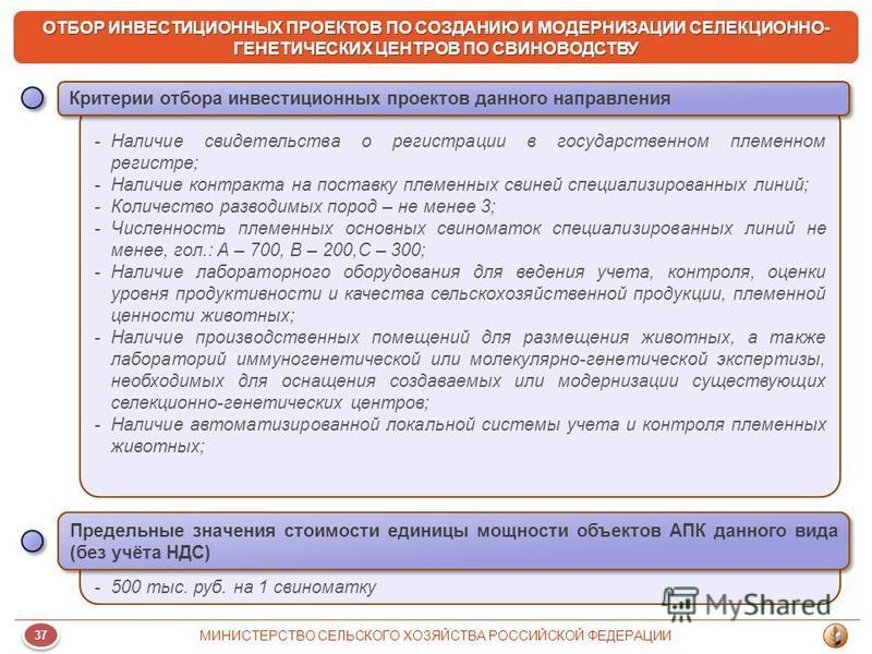 37 МИНИСТЕРСТВО СЕЛЬСКОГО ХОЗЯЙСТВА РОССИЙСКОЙ ФЕДЕРАЦИИ ОТБОР ИНВЕСТИЦИОННЫХ ПРОЕКТОВ ПО СОЗДАНИЮ И МОДЕРНИЗАЦИИ СЕЛЕКЦИОННО- ГЕНЕТИЧЕСКИХ ЦЕНТРОВ ПО СВИНОВОДСТВУ -Наличие свидетельства о регистрации в государственном племенном регистре; -Наличие ко