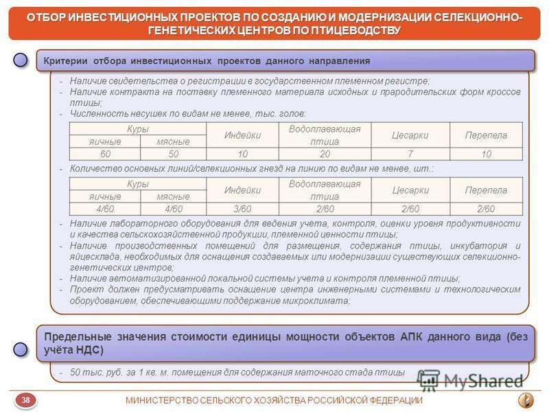38 МИНИСТЕРСТВО СЕЛЬСКОГО ХОЗЯЙСТВА РОССИЙСКОЙ ФЕДЕРАЦИИ ОТБОР ИНВЕСТИЦИОННЫХ ПРОЕКТОВ ПО СОЗДАНИЮ И МОДЕРНИЗАЦИИ СЕЛЕКЦИОННО- ГЕНЕТИЧЕСКИХ ЦЕНТРОВ ПО ПТИЦЕВОДСТВУ -Наличие свидетельства о регистрации в государственном племенном регистре; -Наличие ко