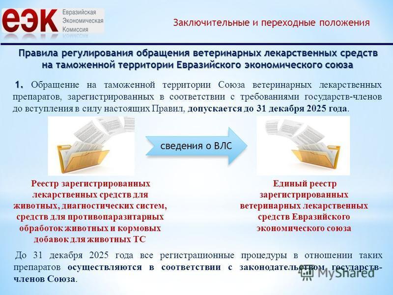 Правила регулирования обращения ветеринарных лекарственных средств на таможенной территории Евразийского экономического союза Заключительные и переходные положения 1. 1. Обращение на таможенной территории Союза ветеринарных лекарственных препаратов,