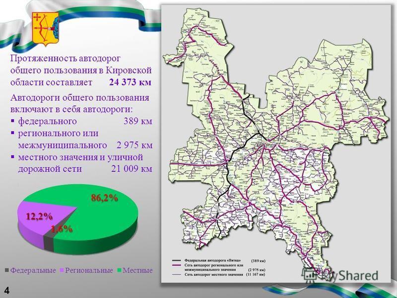 4 Протяженность автодорог общего пользования в Кировской области составляет 24 373 км Автодороги общего пользования включают в себя автодороги: федерального 389 км регионального или межмуниципального 2 975 км местного значения и уличной дорожной сети