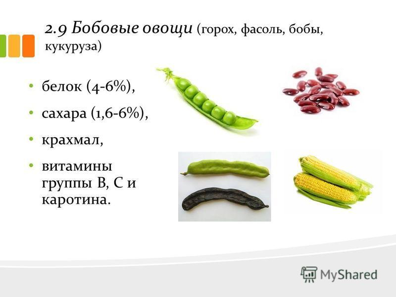 2.9 Бобовые овощи (горох, фасоль, бобы, кукуруза) белок (4-6%), сахара (1,6-6%), крахмал, витамины группы В, С и каротина.
