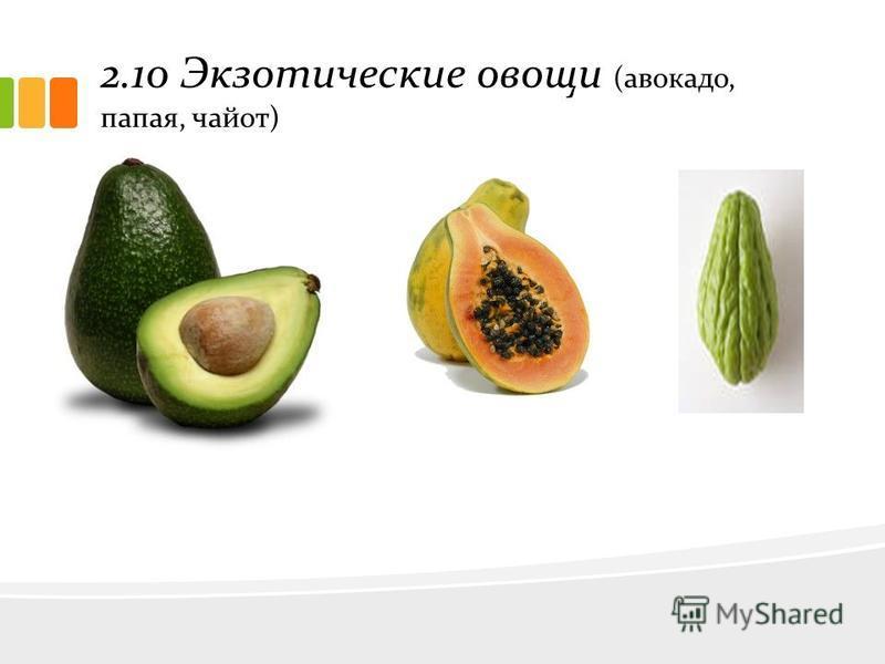 2.10 Экзотические овощи (авокадо, папая, чайот)