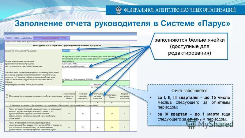 Заполнение отчета руководителя в Системе «Парус» заполняются белые ячейки (доступные для редактирования) Отчет заполняется: за I, II, III кварталы – до 15 числа месяца следующего за отчетным периодом; за IV квартал – до 1 марта года следующего за отч