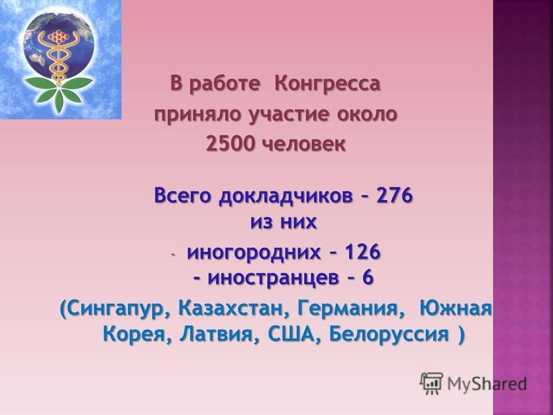 В работе Конгресса приняло участие около 2500 человек Всего докладчиков – 276 из них - иногородних – 126 - иностранцев – 6 (Сингапур, Казахстан, Германия, Южная Корея, Латвия, США, Белоруссия )