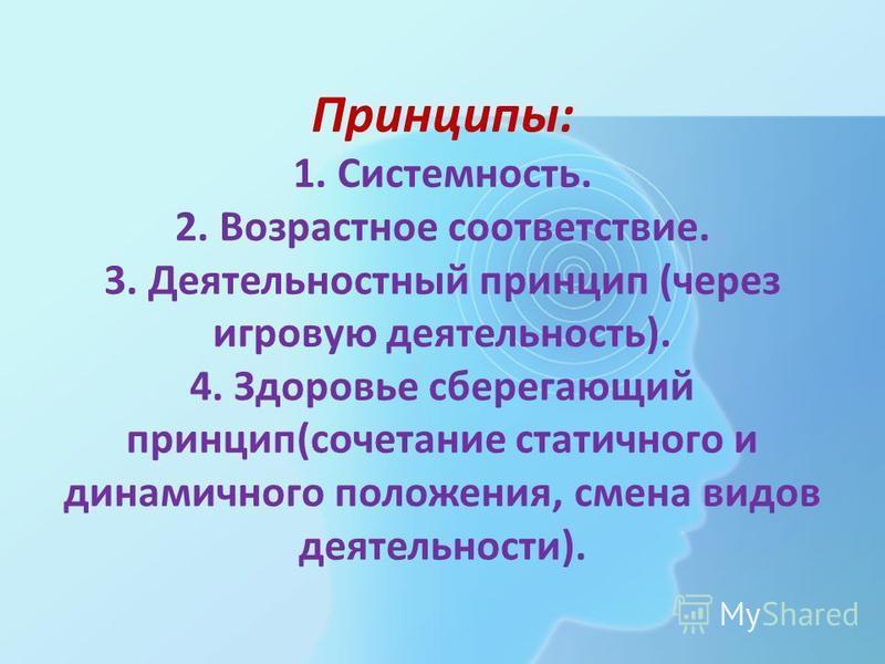 Принципы: 1. Системность. 2. Возрастное соответствие. 3. Деятельностный принцип (через игровую деятельность). 4. Здоровье сберегающий принцип(сочетание статичного и динамичного положения, смена видов деятельности).