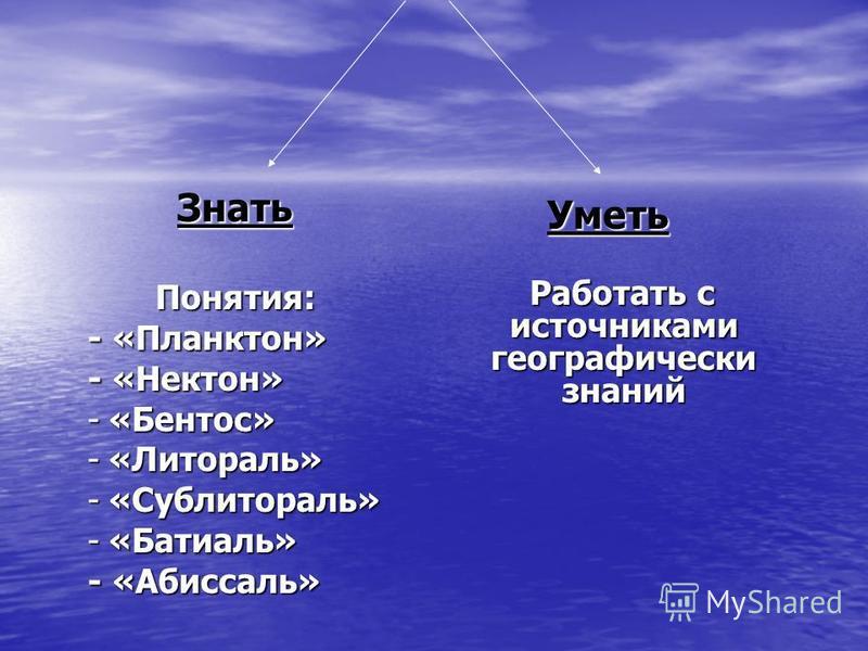 Знать Понятия: - «Планктон» - «Нектон» -«Бентос» -«Литораль» -«Сублитораль» -«Батиаль» - «Абиссаль» Уметь Работать с источниками географически знаний Работать с источниками географически знаний