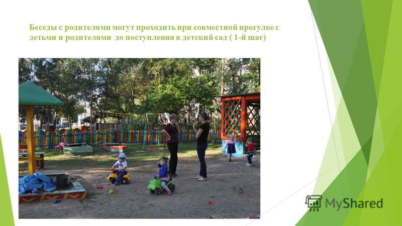 Беседы с родителями могут проходить при совместной прогулке с детьми и родителями до поступления в детский сад ( 1-й шаг)