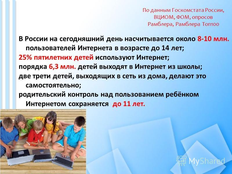 В России на сегодняшний день насчитывается около 8-10 млн. пользователей Интернета в возрасте до 14 лет; 25% пятилетних детей используют Интернет; порядка 6,3 млн. детей выходят в Интернет из школы; две трети детей, выходящих в сеть из дома, делают э