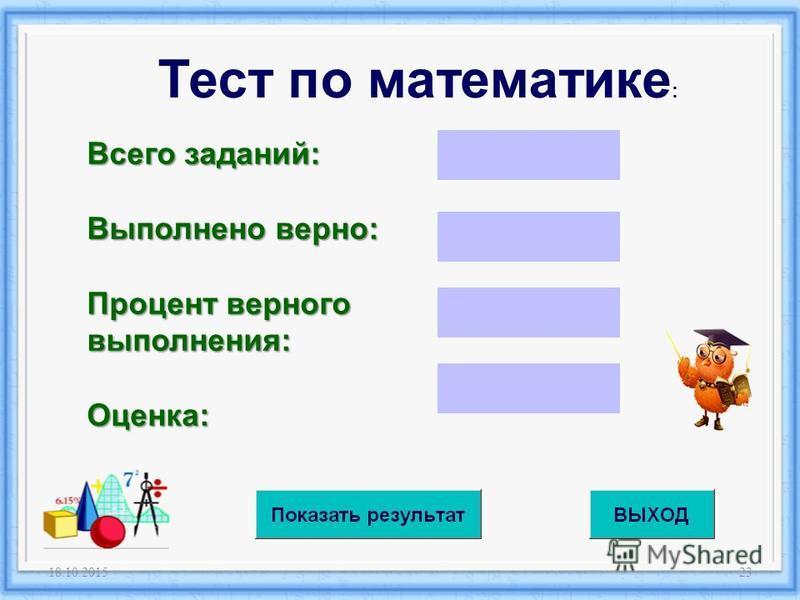 18.10.201523 Тест по математике : Всего заданий: Выполнено верно: Процент верного выполнения: Оценка: