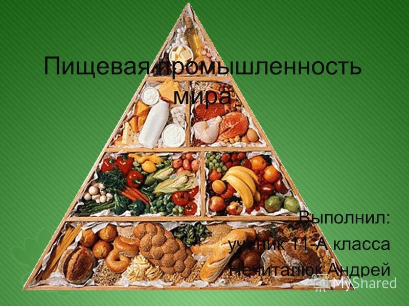Пищевая промышленность мира Выполнил: ученик 11-А класса Нечиталюк Андрей