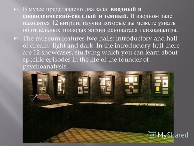 В музее представлено два зала : вводный и сновиденческий - светлый и тёмный. В вводном зале находятся 12 витрин, изучив которые вы можете узнать об отдельных эпизодах жизни основателя психоанализа. The museum features two halls: introductory and hall