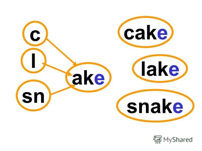 c l sn ake cake lake snake