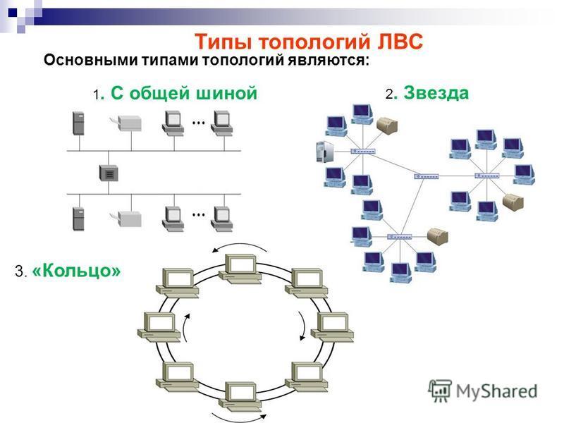 3. «Кольцо» Основными типами топологий являются: Типы топологий ЛВС 2. Звезда 1. С общей шиной