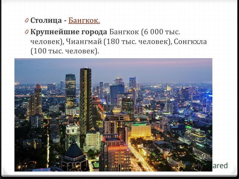0 Столица - Бангкок.Бангкок. 0 Крупнейшие города Бангкок (6 000 тыс. человек), Чиангмай (180 тыс. человек), Сонгкхла (100 тыс. человек).