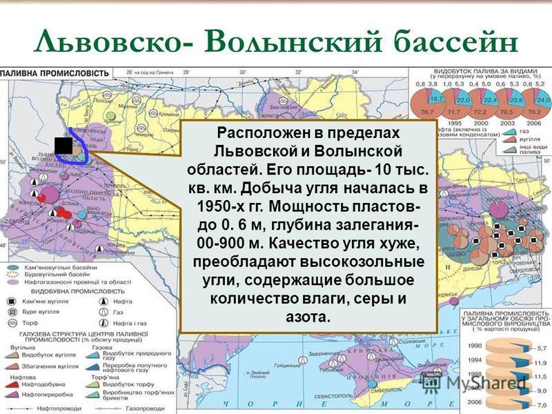 Львовско- Волынский бассейн, Расположен в пределах Львовской и Волынской областей. Его площадь- 10 тыс. кв. км. Добыча угля началась в 1950-х гг. Мощность пластов- до 0. 6 м, глубина залегания- 00-900 м. Качество угля хуже, преобладают высокозольные