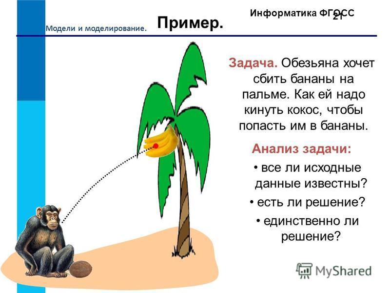 Модели и моделирование. Информатика ФГОСС 21 Пример. Задача. Обезьяна хочет сбить бананы на пальме. Как ей надо кинуть кокос, чтобы попасть им в бананы. Анализ задачи: все ли исходные данные известны? есть ли решение? единственно ли решение?